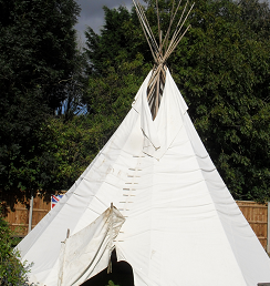 Outdoor learning in a teepee
